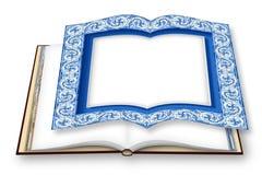 Feldentwurf mit typischen portugiesischen Dekorationen nannte azulejos - Konzeptbild der Wiedergabe 3D eines geöffneten Fotobuche stockfotos