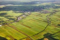 Felder der Niederlande von oben Stockfotografie
