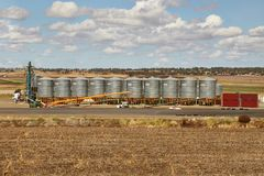 Felder des australischen agiculture mit Getreidespeichern Lizenzfreies Stockbild