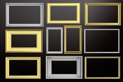 Felder golden und silbernes lokalisiert auf schwarzem Hintergrundkopienraum, Illustration 3d Lizenzfreie Stockfotografie