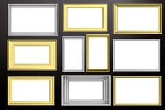 Felder golden und silbernes lokalisiert auf schwarzem Hintergrundkopienraum, Illustration 3d Stockbild