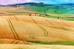 Felder mit Haus in Toskana gestalten, Italien landschaftlich lizenzfreies stockfoto