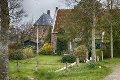 Felder mit Narzissen und niederländischen Häusern im Frühjahr Lizenzfreie Stockbilder