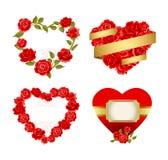Felder mit roten Rosen Stockfoto