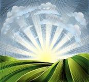 Felder Rolling Hills und Sun gravierte Radierung Stockbilder
