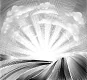 Felder Rolling Hills und Sun-Holzschnitt Stockfotos