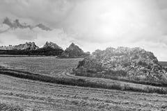 Felder in Sizilien nachdem dem Ernten Stockfoto