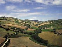 Felder und Himmel Stockfotos