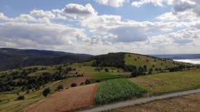 Felder und Mais am schönen Tag stock footage