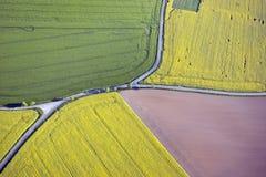 Felder und Straßen von oben Lizenzfreies Stockbild