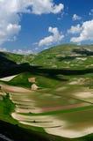Felder von Castelluccio di Norcia Stockbild