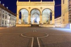 Feldherrenhalle on Odeonsplatz at night, Munich, Bavaria, Germany Royalty Free Stock Photography