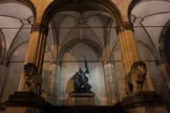 Feldherrnhalle monument with its typical lion statues at night in Munich, Germany. The Feldherrnhalle is a monumental loggia on the Odeonsplatz Picture of the royalty free stock photo