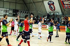 Thanking players. The feldi eboli futsal team is thanking their supporters after the match vs acqua & sapone Royalty Free Stock Photography