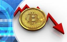 feldiagram för bitcoin 3d Arkivbild