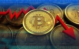 feldiagram för bitcoin 3d Fotografering för Bildbyråer