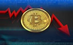 feldiagram för bitcoin 3d Royaltyfria Bilder