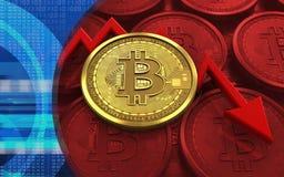 feldiagram för bitcoin 3d Royaltyfri Illustrationer