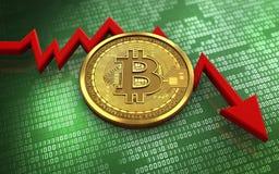 feldiagram för bitcoin 3d Royaltyfri Foto