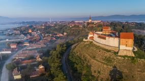 Feldioara堡垒 brasov中心城市老罗马尼亚 免版税图库摄影