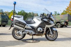 Feldjaeger, german military police motorcycle stands on platform royalty free stock photos