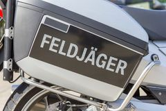 Feldjaeger, german military police sign on a motorcycle royalty free stock images