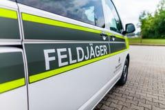 Feldjaeger sign on a military car stock photo