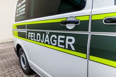 Feldjaeger sign on a military car stock photography