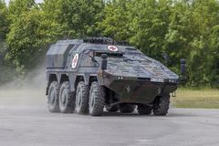 German armoured medical carrier Boxer. FELDKIRCHEN / GERMANY - JUNE 9, 2018: German armoured medical carrier Boxer, from Bundeswehr, drives on a road at Day of Royalty Free Stock Photography