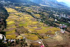 Feldnatur bringt Hügel und Straßen unter Lizenzfreies Stockbild