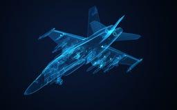 Feldskizze des Draht-3d der Hornisse F-18 Lizenzfreies Stockfoto