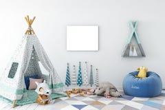 Feldspott oben im Kinderrauminnenraum Skandinavische Innenart 3D Wiedergabe, Illustration 3D vektor abbildung