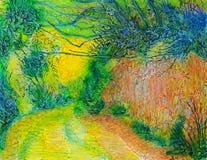 Feldweg in Gelbem und in Orange Lizenzfreies Stockfoto
