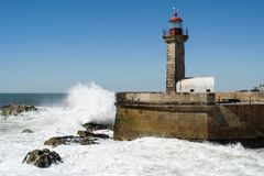 Felgueiras Lighthouse in Foz do Douro stock image