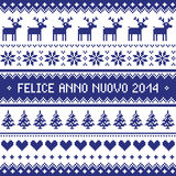 Felice Anno Nuovo 2014 - italian happy new year pattern. Navy blue background for celebrating New Years - nordic kntting style Royalty Free Stock Photography
