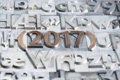 2017 felice con i tipi di stampe Fotografie Stock Libere da Diritti