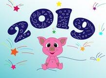 2019 felice con il piccolo porcellino sveglio illustrazione di stock