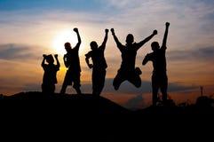 Felice e vittoria insieme Immagini Stock Libere da Diritti