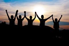 Felice e vittoria insieme Fotografie Stock Libere da Diritti