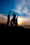Felice e vittoria insieme Fotografia Stock Libera da Diritti