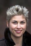 Felice esterno della donna espressiva Fotografie Stock