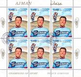 Felice Gimondi. AJMAN - CIRCA 1969: stamp printed by Ajman, shows Felice Gimondi, circa 1969 Royalty Free Stock Photography
