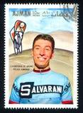 Felice Gimondi. AJMAN - CIRCA 1969: stamp printed by Ajman, shows Felice Gimondi, circa 1969 Stock Images