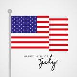 Felice il quarto luglio, saluto unito di festa dell'indipendenza dello stato con il vettore della bandiera illustrazione di stock