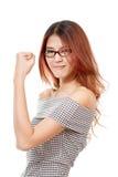 Felice, positivo, sorridendo, donna sicura con il monocolo Fotografia Stock