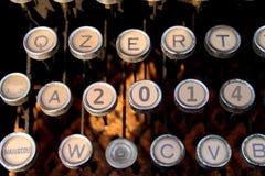 2014 felice sulla macchina da scrivere Fotografie Stock Libere da Diritti
