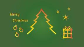 Felices árbol de navidad, bolas, estrellas y regalo Fotos de archivo libres de regalías