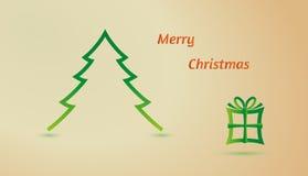 Felices árbol de navidad y regalo Foto de archivo libre de regalías