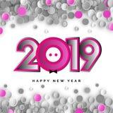 2019 Felices Año Nuevo con el cochinillo stock de ilustración
