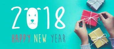 2018 Felices Año Nuevo con la hembra que adorna la caja de regalo linda Imagenes de archivo